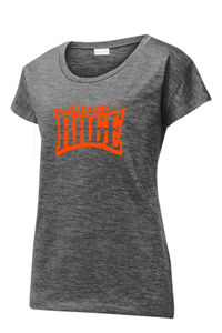 SPORT TEK SS WOMEN'S HEATHERED GREY TEXT